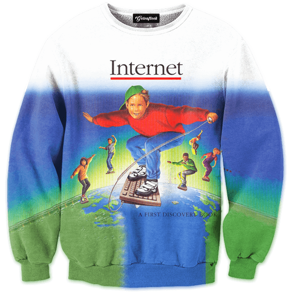 welcome to the internet crewneck all over print apparel