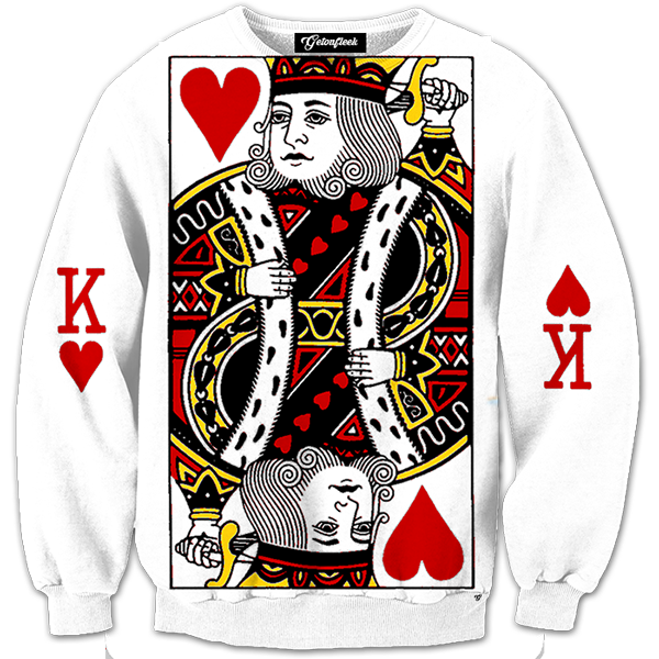 King Of Hearts Crewneck All Over Print Apparel Getonfleek