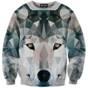 abstract wolf crewneck
