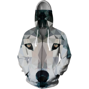 abstract wolf zip up