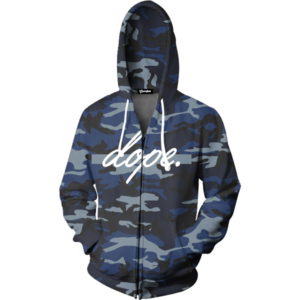 dope navy camo zip up