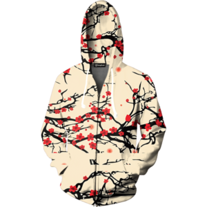 floral cherry blossom zip up