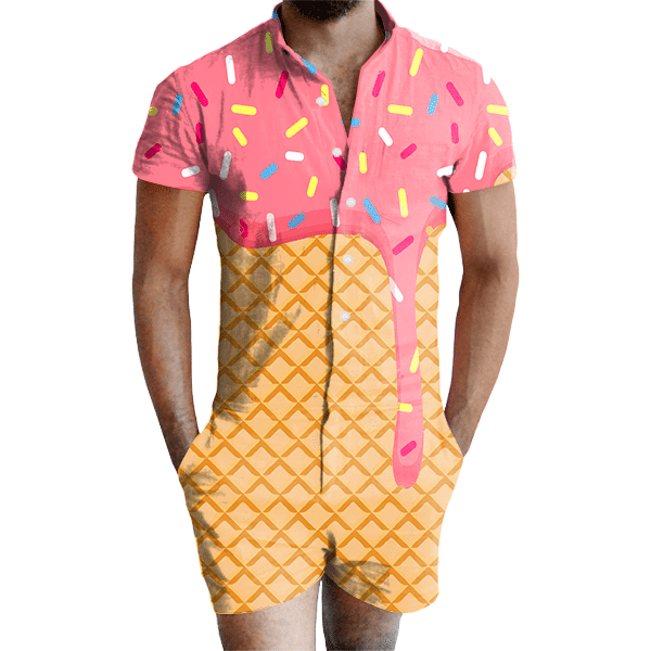 e42f0e0ba5f Ice Cream Dripping Romper - All Over Print Apparel - Getonfleek
