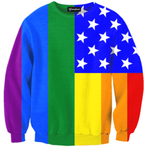 Gay Pride American Flag Crewneck