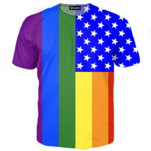 Gay Pride American Flag Tee