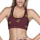Bees on Burgundy Sports Bra – Front