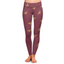 Bees on Burgundy Yoga Pants – Front